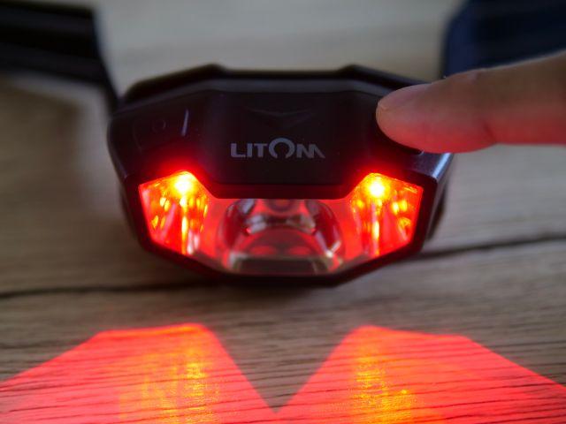 Litomヘッドライトの赤ライトを点灯する