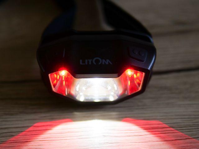 litomヘッドライトの白ライトと赤ライトを同時に点灯する