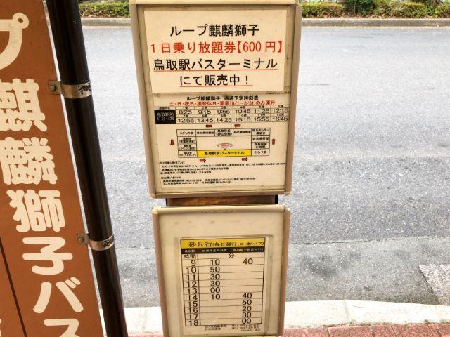 鳥取駅から鳥取砂丘行きのバスの時刻表