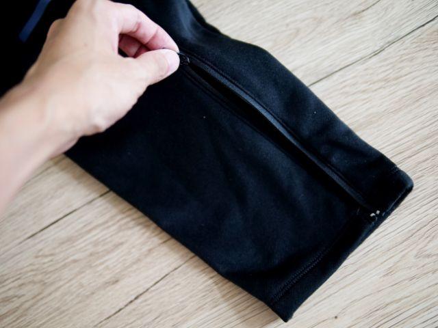 ロングパンツの裾ファスナー