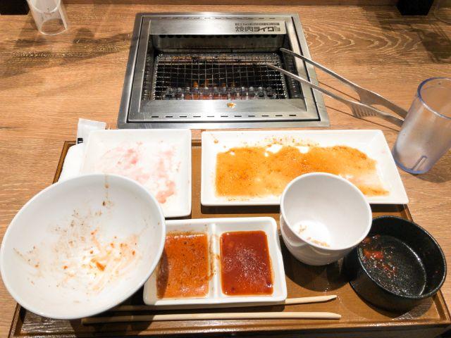 完食した焼肉プレート