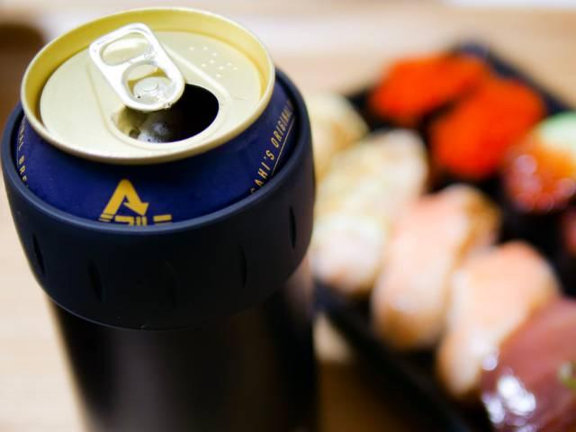 保冷缶ホルダーを使った缶ビール