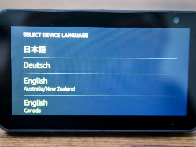 Echo Show 5の言語設定画面