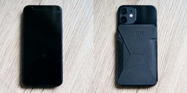 MOFTスタンドを装着したiPhone 12 mini