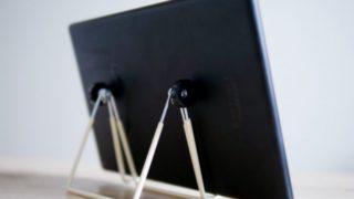100均ダイソーで買ったタブレットスタンドが角度調整自由自在でめちゃくちゃ便利